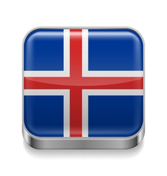Metal icon of iceland vector