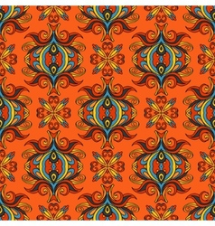 Orange floral festive pattern vector