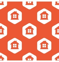 Orange hexagon house pattern vector