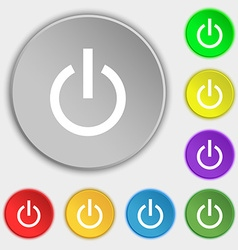 Power icon sign symbol on five flat buttons vector