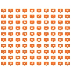 Food orange message icons set vector