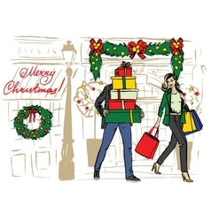Christmas shopping of family vector image