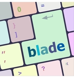 Blade button on computer pc keyboard key raster vector