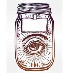 Romantic flesh art of a wish jar with eye in it vector
