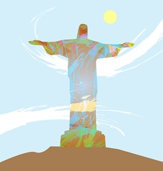 Abstract design with statue over light blue backgr vector image