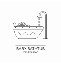 Baby bath line icon vector