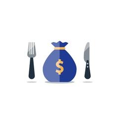 Big sack with money greedeness financial spending vector
