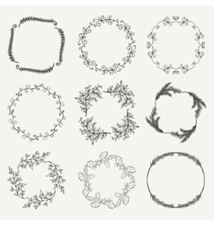 Black hand sketched floral frames borders vector