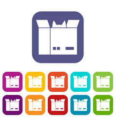 Cat in a cardboard box icons set flat vector