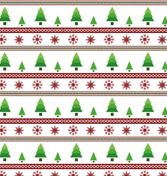 Christmas trees and snowflake seamless pattern vector