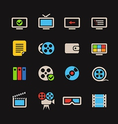 Cinema color web icons collection vector image vector image