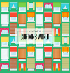 curtains world background in flat design vector image vector image