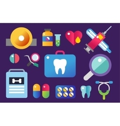 Dental icons set clinic logo vector image vector image