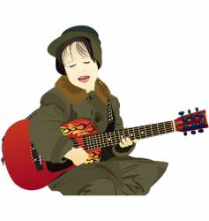 guitar boy vector image