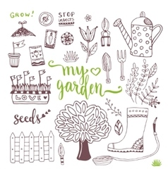 Hand sketch set of Garden doodle elements - seed vector image