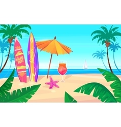 Holidays by the sea View of the palms and ship in vector image vector image