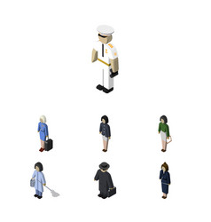 isometric person set of pedagogue housemaid vector image