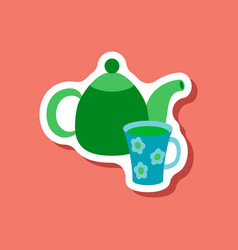 paper sticker tea kettle and cup vector image