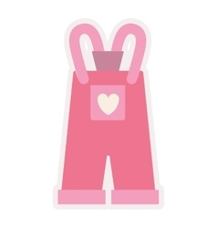 Pink overall for baby girl vector