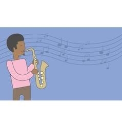 Saxophonist african man vector