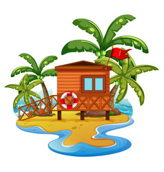 Scene with lifeguard house on beach vector