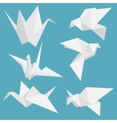 Set of paper cranes origami birds isolated vector