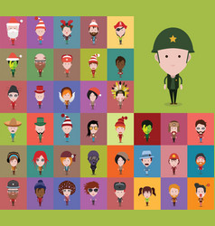 Set of people icons in flat style vector