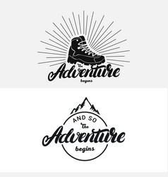 set of the adventure begins hand written lettering vector image
