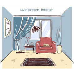 Sketchy of living room interior color hand d vector image vector image