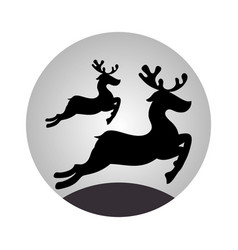sphere with monochrome reindeer jumping vector image