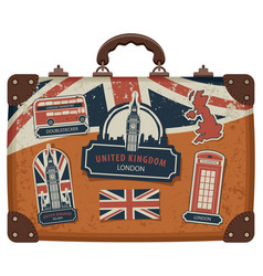 suitcase with british symbols monuments and flag vector image vector image