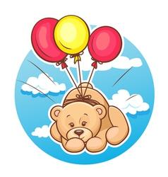 teddy bear flies on balloons vector image vector image