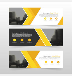 Yellow abstract triangle corporate business banner vector