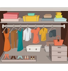 Wardrobe room with clothes shoes and boxes vector