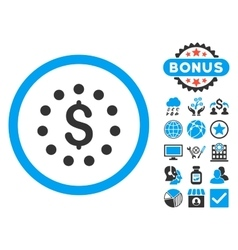 Dollar sign flat icon with bonus vector