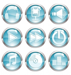Set music gloss button vector