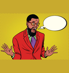 Shocked hipster bearded african american vector