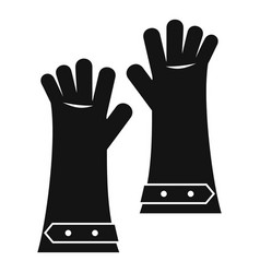 Heat resistant gloves for welding icon simple vector