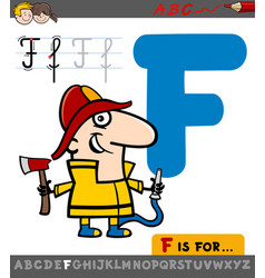 Letter f with cartoon fireman vector