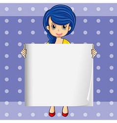 A lady with a blue hair holding an empty signage vector