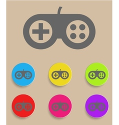 Game controller icon with color variations vector