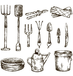 Set of gardening tools drawings vector