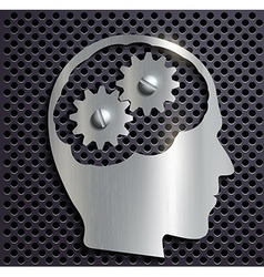 human head with gears inside vector image