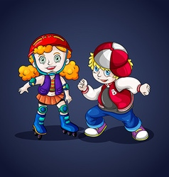 Boy and girl rollerskating vector