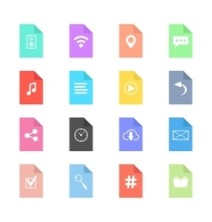 Web icons on colored sheets of paper vector