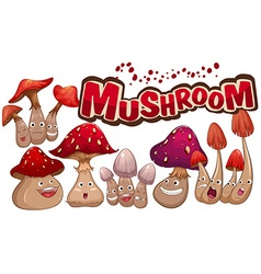 Fresh mushroom with facial expressions vector