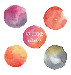 Watercolor circles in warm colors vector