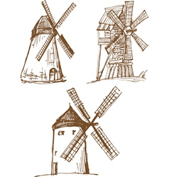 Hand drawn sketched old mills vector
