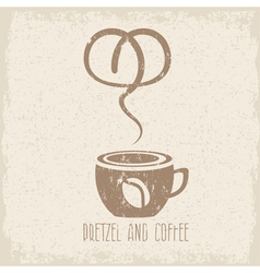 Coffee cup and pretzel grunge design template vector