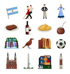 Argentina symbols flat icons collection vector